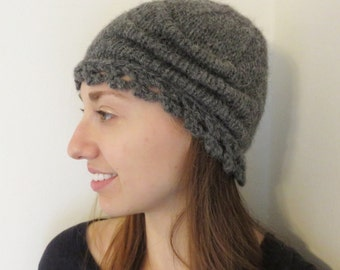 Alpaca Cloche Hat, one of a kind, gray, hand knit