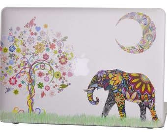 Macbook Air 13 inches Rubberized Hard Case for model A1369 & A1466, Moon Elephant Design with Clear Bottom Case, Come with Keyboard Cover