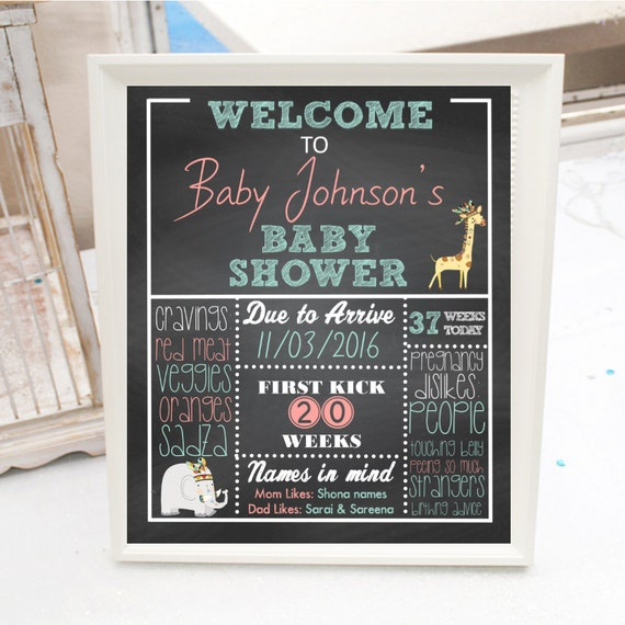 personalized welcome baby shower sign safari animal theme boy or