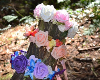 Flower crown / Flower Garland / Flower Headband / Flower Girl / Boho headband/ Festival headband / Festival Crown / Festival Headwear