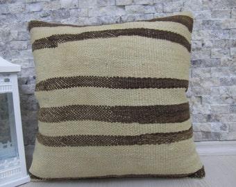 organic sheep wool Kilim Pillow 16 x 16 Hand Woven Turkish Pillow Handmade Pillow Throw Pillow Decorative Pillow Home Decor Pillow Kilim Rug