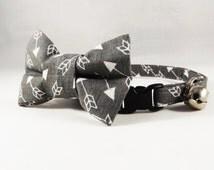 Gray Arrow Cat Collar, Breakaway Cat Collar, Gray Cat Collar, Kitten Collar, bell, collar flower or Bow tie included, Spring Cat Collar
