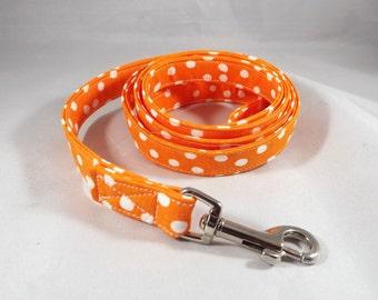 Polka Dot Dog Leash, Orange Dog Lead, 4 feet or 6 feet leash length, Custom dog leash, choose fabric,  optional matching collar