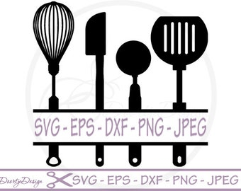 Split Kitchen Utensils SVG, Split monogram svg, dxf files, eps files, cricut, kitchen monogram svg file, Clip Art, cut file silhouette