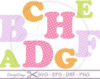 SVG Alphabet, SVG Fonts Polka Dots, cutting files, Alphabet cutouts DXF, Letters cut files, silhouette, scrapbooking, svg files for cricut