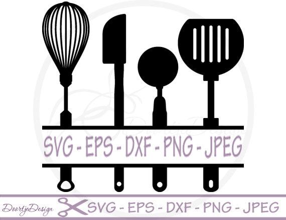 Kitchen Utensils Silhouette Vector Free split kitchen utensils svg split monogram svg dxf files eps