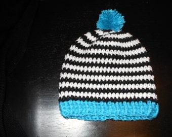 POP OF BLUE, crochet winter hat. { child size }