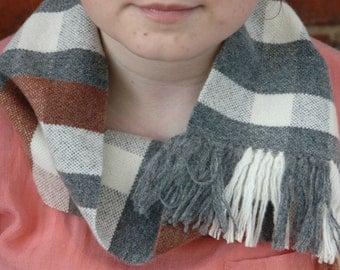 Hand Woven Lambswool Scarf Collar - Grey, Cream, Rust