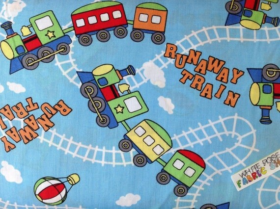 Runaway train cotton print 100 cotton by whiterosefabricshop for Train print fabric
