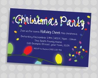 Christmas Fairy Lights, Christmas Tree lights, Glowing lights Christmas Party Invitation || Downloadable Invitation || Printable JPG/PDF