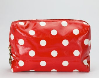 Womens Compact Beauty zip pouch - Red and white polka dot print -  Oilcloth coated cotton