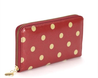 Oilcloth Vegan Zip around Wallet- Red polka dot purse- Oil cloth ladies purse- Ladies Zip wallet - Coin purse- Laminated cotton- Iphone Plus