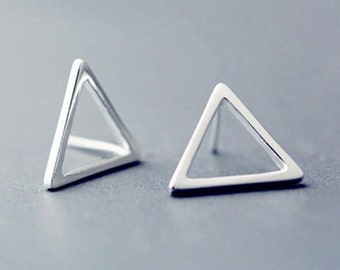 925 Sterling Silver Triangle Stud Earrings