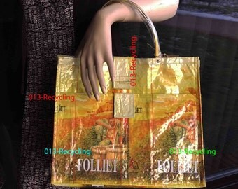 Handbag/Handtas recycled Coffeebags/Koffiezakken_02_type Folliet_yellow with images/geel met print