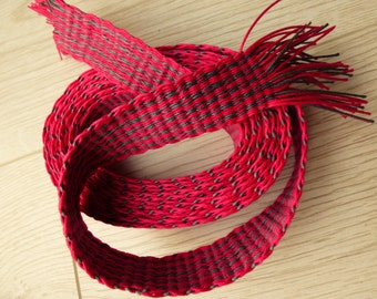 Handwoven inkle loom braid 100% cotton - bright pinkish red and pewter grey