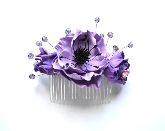 Purple anemone hair Comb crystal floral hairpin purple flowers wedding accessories Bridal bridesmaid gift Lilac headpiece hair dress event