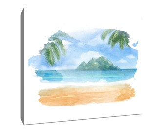 Island and Palms, Tropical Watercolor Gallery-Wrapped Canvas