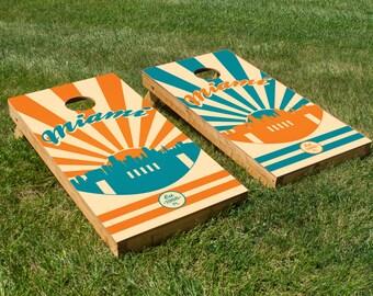 Miami Football Cornhole Board Set with Bean Bags