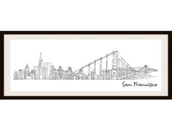 City sketch of San Francisco Poster (Not Framed)