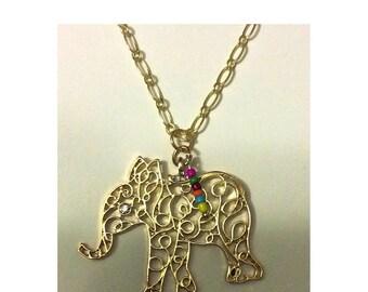 Beautiful Boho Elephant Necklace - Elephant Necklace - Boho Style Necklace