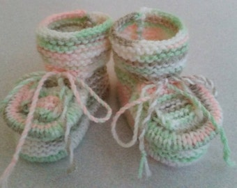 Knitted baby booties, size 3-6 months, for girl