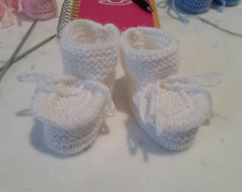 Knitted baby booties,  size 3-6 months, white  color