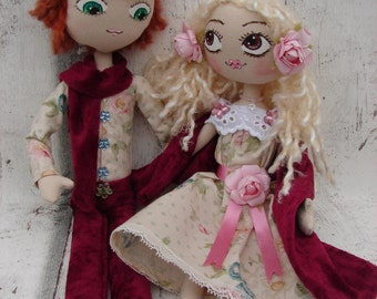 Rag Doll (doll, doll, ooak doll art doll handmade rag) couple Tim and Rose
