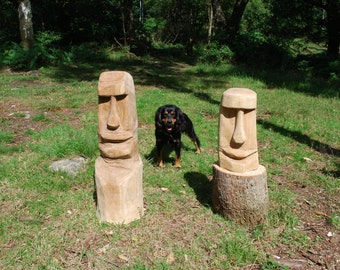 Large Easter Island Head Chainsaw Carving