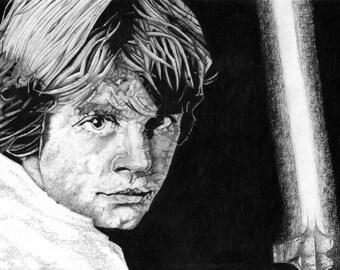 Luke Skywalker - Star Wars Charcoal Drawing Print