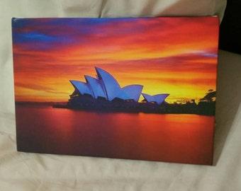 Sydney Opera House Sunset A4 Canvas