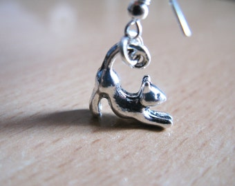 Handmade silver cat earrings