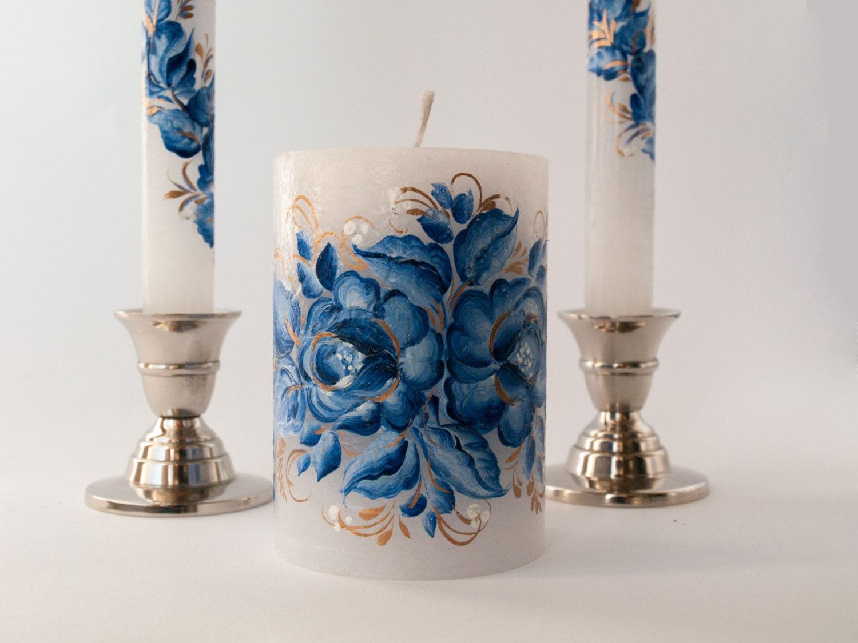 Wedding Candles: Rustic Wedding Candle Wedding Unity Candle Set Cobalt Blue
