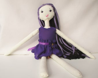 Violet ragdoll, cloth doll, handmade rag doll, gifts for girls, purple, ooak dolls