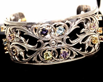 Beautiful sterling silver with a filigree open lattice motif cuff bangle