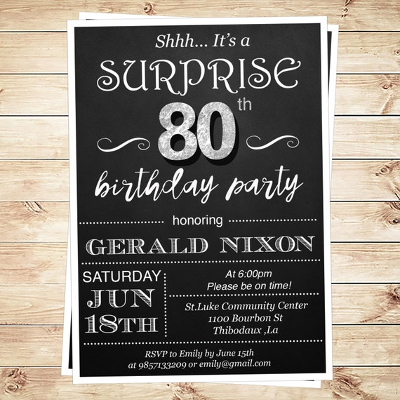 Surprise 80th Birthday Party Invitations By DIYPartyInvitation