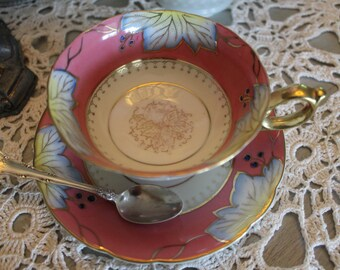 Cup and saucer white, pink, yellow and blue, Shafford