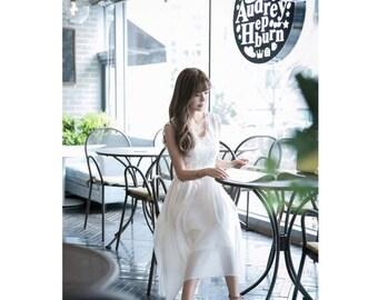 New Summer Korean Fashion Women Long Section Solid Lace Sweet Chiffon Slim Dress