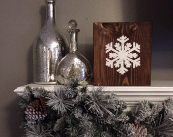 Wooden Snowflake Sign, Christmas Sign, Holiday Sign