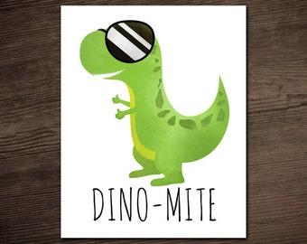 Dino-Mite Funny Digital 8x10 Printable Poster Dinosaur Punny Dynamite Puns Dino Pun T-Rex Good Job Thumbs Up Congratulations Fun Sunglasses