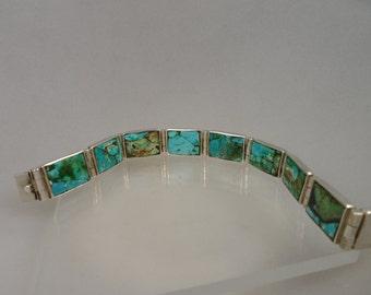 Vintage Sterling Mosaic Turquoise Hinged Bracelet