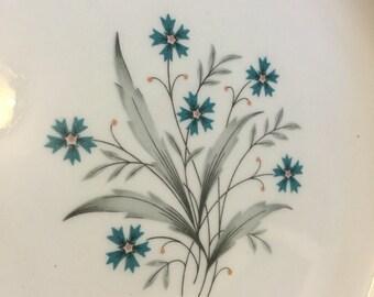 1950s Vintage China Teal Cornflowers & Gray Leaves