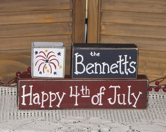 Primitive Personalized wooden block set 4th of July Americana country decor shelf sitter wood stacking blocks hostess party gift holiday