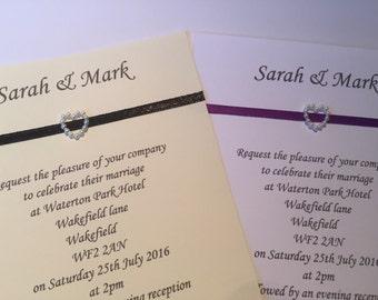 50 x Handmade Personalised Wedding/Evening invites free mini rsvp pearl and ribbon