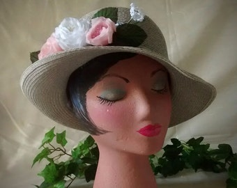 Gray Straw Ladies Vintage  Hat with Pink and White Roses