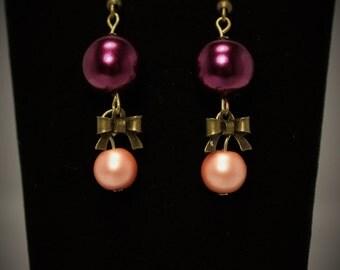 Purple, Pink, Pearl, Bow  Earrings