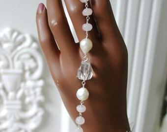 Rose Quartz rock crystal quartz currently bracelet rose quartz rock crystal quartz baroque pearl bracelet in sterling silver