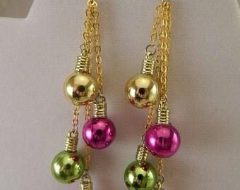 Christmas Glass Ornament Earrings
