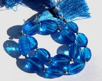 "8"" Long 14 pcs 11x8-14x9 mm Swiss Blue Quartz Chakker Cut Barrel Beads, Semiprecious Beads BR47"
