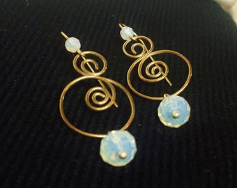 Silver Double-Spiral Earrings with Moonstone Drops