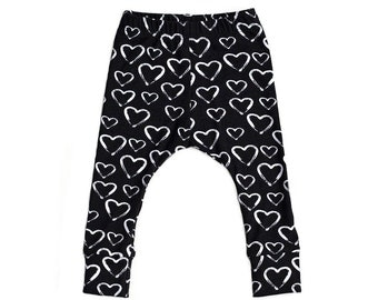 black and white harem pants, black and white pants, monochrome harem pants, heart pants